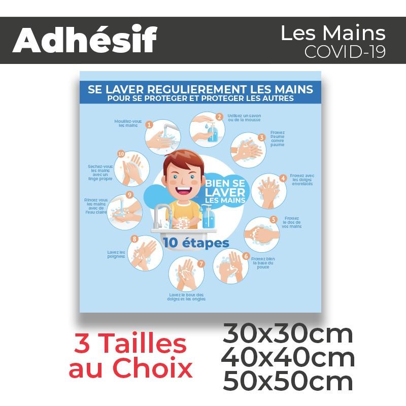 Adhesif- Covid-19_Se laver les Mains