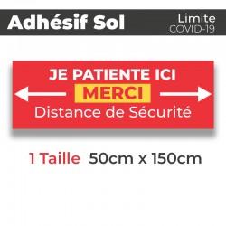 Adhesif de Sol - Covid-19_Je patiente ici